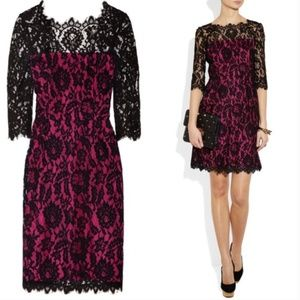 Milly Stella Black Pink Lace Dress 8